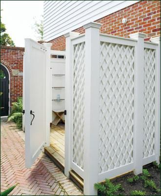 Custom Outdoor Shower Enclosure with inlaid Lattice| Wood Shower Enclosures and Solid Cellular PVC Shower Enclosures from Walpole Woodworkers