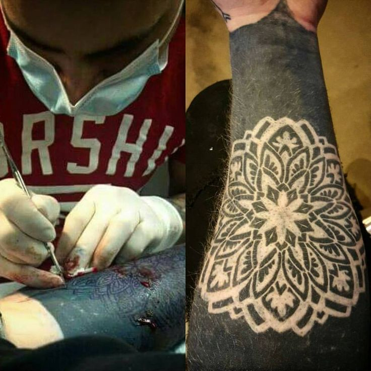 Bryan Decker - In progress and healed example of scarification over solid tattooing on @ryanfeagan