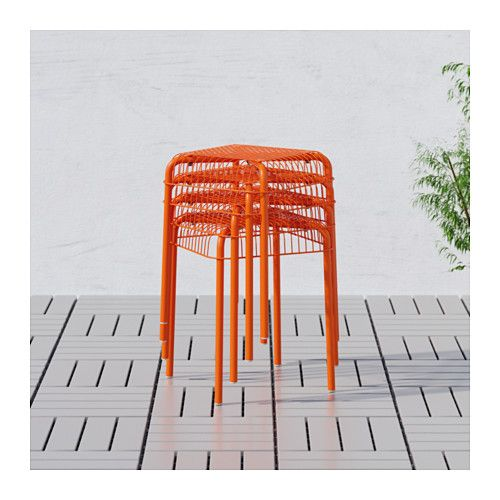VÄSTERÖN Stool, indoor/outdoor, orange - orange