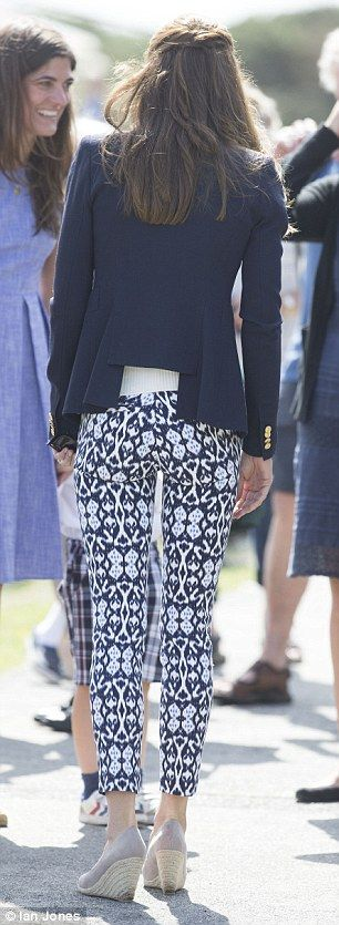 Kate's jazzy tight-fitting pants won rave reviews on social media. Her sister Pippa's bum is famous, but the Duchess showed she can rock a form-fitting look too.
