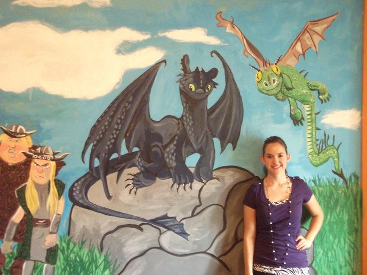 Toothless of how to train your dragon mural wall for Dragon mural for wall
