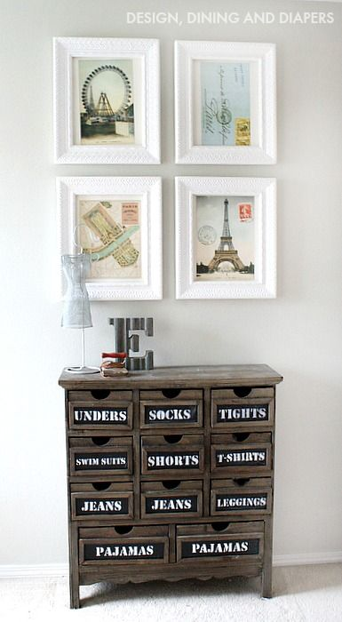 Calendar Wall Art and Chalkboard Dresser - fun combo! #home #decor