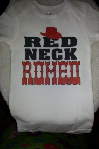 White Redneck Romeo with Cowboy Hat Baby Onesie | MissPhiesBoutique - Clothing on ArtFire