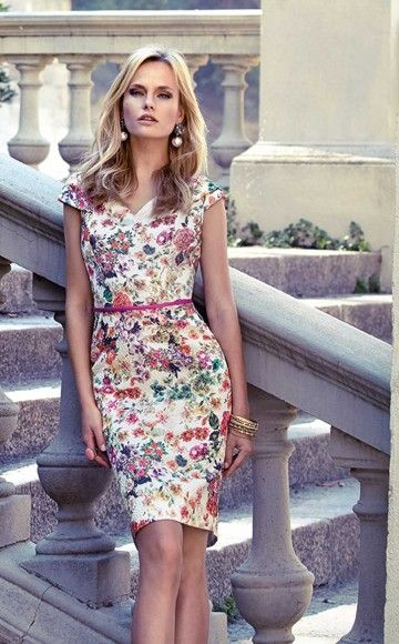Carla Ruiz 93624 Flattering floral fitted shift dress with short sleeves, v-neckline, fitted waist and straight skirt only available at Blessings Occasion Wear Boutique, Brighton, East Sussex. BN1 5GG. Telephone: 01273 505766.