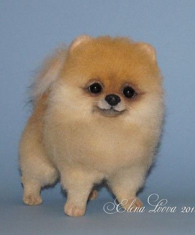 This felted Pomeranian looks almost real!