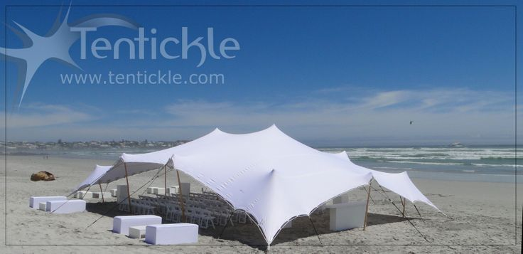 Beach wedding ceremony tent