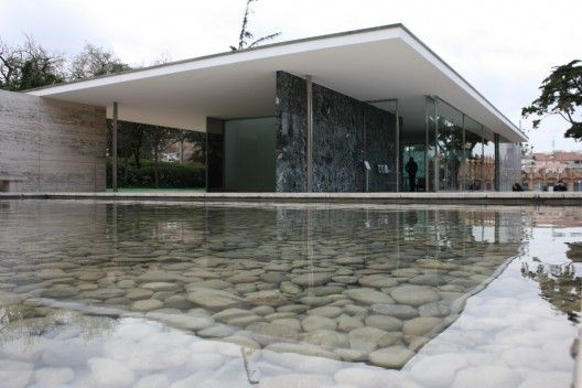 The reconstruction of Mies van der Rohe's Barcelona Pavillion from 1929.