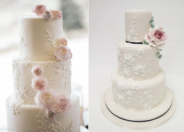 Floral Lace Wedding Cakes on Cake Geek Magazines (cakes by Kelly Kakes, left and Emma Jayne Cake Design, right). See the full collection of floral lace wedding cakes here: http://cakegeek.co.uk/index.php/floral-lace-wedding-cakes/