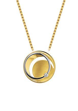 Gouden diamnten sieraden | Juwelier de Bokx Wijffels bicolor hanger €349 | wit- en geelgouden hanger met diamant en een poli/matte afwerking #goudenhanger #goudensieraden #JDBW #online #gouden #sieraden #diamant