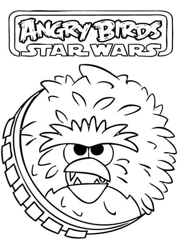 Angry Birds Star Wars Coloring Pages Chewbacca Dengan Gambar