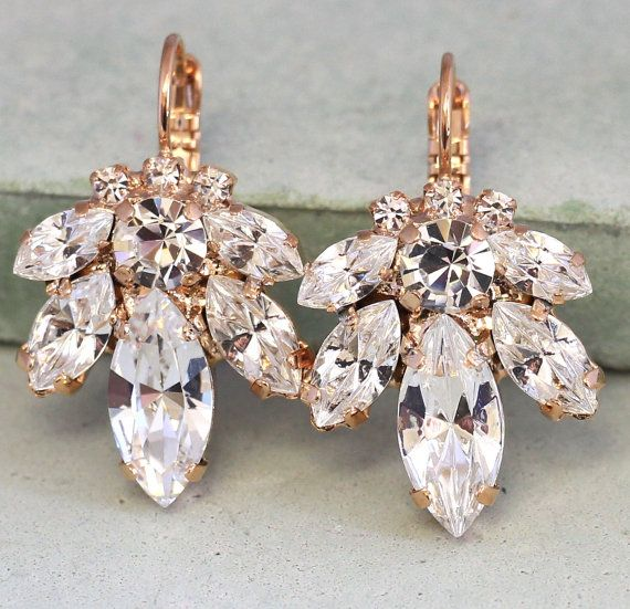 Check out this item in my Etsy shop https://www.etsy.com/il-en/listing/232036016/crystal-bridal-rose-gold-earringsrose