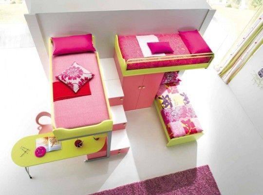 Smart Kids Bedroom Designs For Two Children: Yellow And Pink Bunk Beds For  Three Girls Part 71