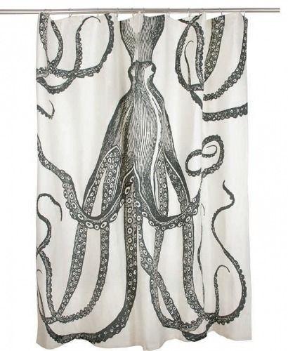 Nautical Luxuries Coastal Decor & Gifts - Denizen Of The Deep Cotton Shower Curtain