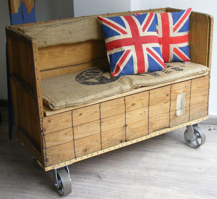 22 best bancas de madera images on pinterest wood - Cajas de plastico para almacenar ...