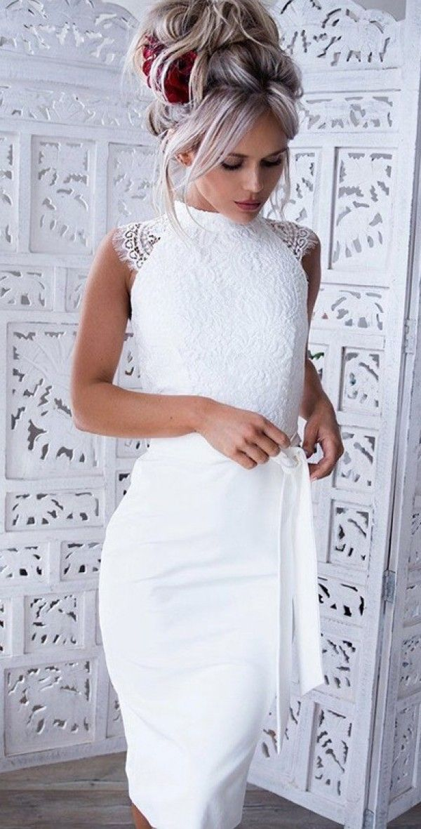 Midi šaty KEILANI bílé - PLESOVÉ ŠATY - Šaty  d603e1a35a