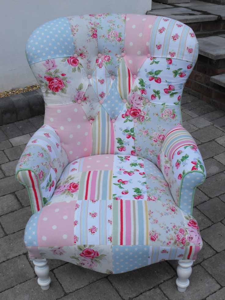 A unique patchwork chair using Cath Kidston heavy weight cotton from Liberty Rose Interiors
