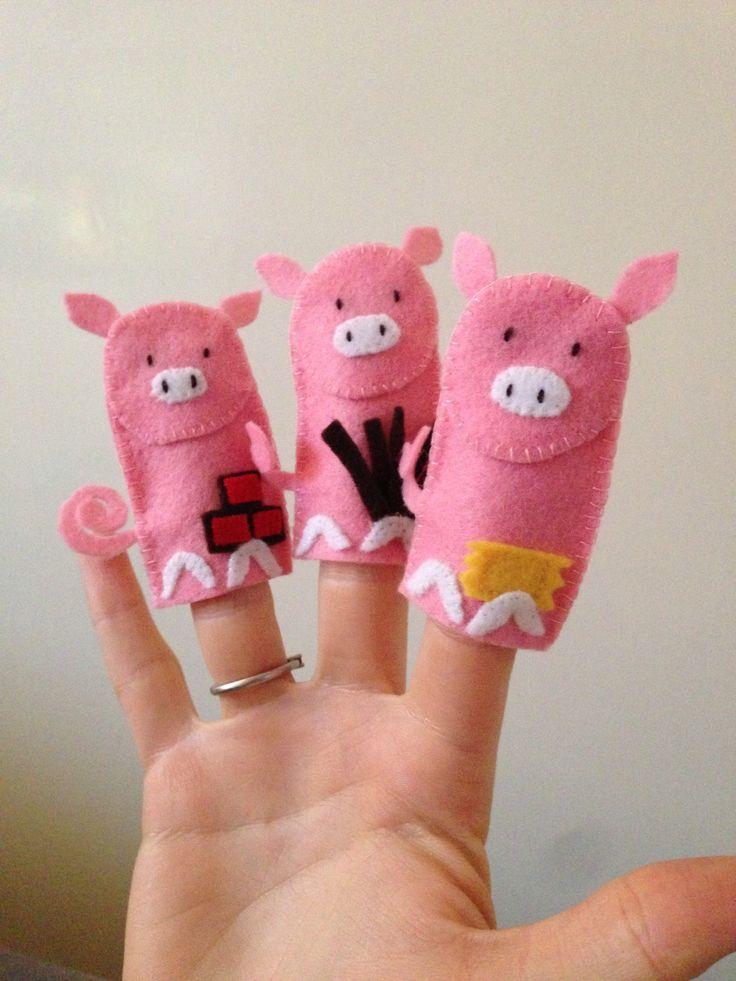 The Three Little Pigs finger puppets #felt #homemade