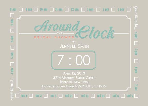 40 best Bridal Shower Invitations images – Around the Clock Wedding Shower Invitations