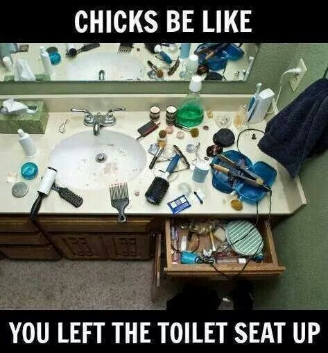 Chick's be like, you left the toilet seat up