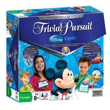 In Trivial Pursuit Disney Family il gioco di domande e risposte più famoso del mondo si unisce alla magia dei film Disney più amati di tutti i tempi. Ogni carta è splendidamente decorata con un'immagine originale tratta da un film Disney. Le domande spaziano dai classici come Fantasia, Mary Poppins e Biancaneve e i Sette Nani a successi più recenti, come Il Principe Caspian e Wall-E: http://shoppro.it/prodotto/giochi-di-societa/disney/disney-gioco-da-tavolo-trivial-pursuit-disney-family/