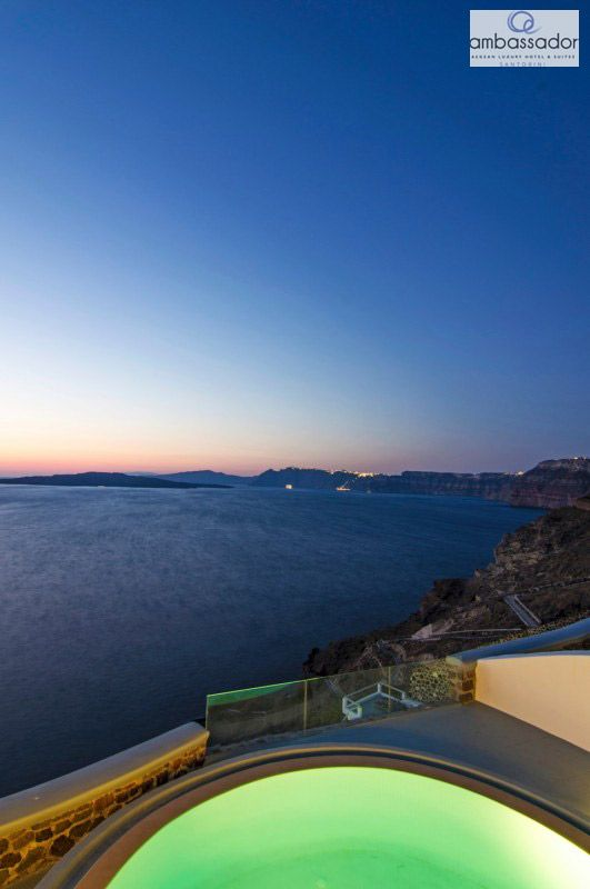 The cobalt beauty of the Aegean before your eyes! #sea #sky #perfection More at ambassadorhotelsantorini.com