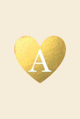 Initial Monogram letter Gold heart iphone wallpaper phone background lock screen - A to Z