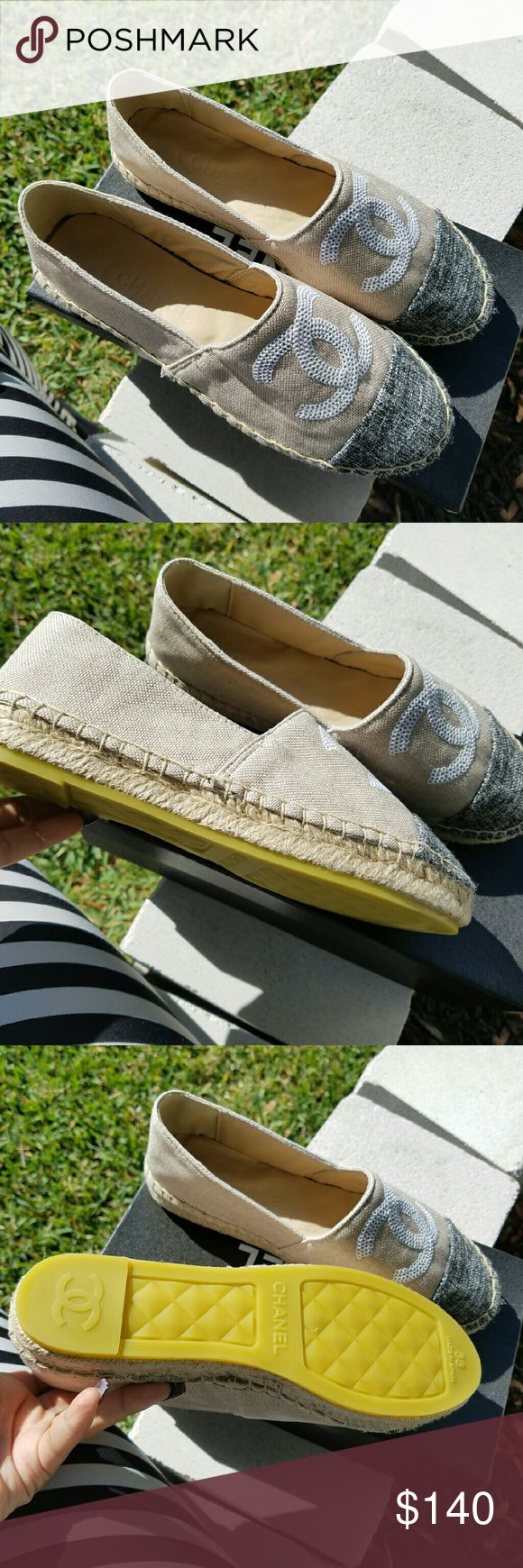 Espadrilles PRICE IS FIRM Brand new in box size 7 i would recommend for people who wear a 7, 7 1/2 they are a perfect fit ! PRICED ACCORDING TO AUTHENTICITY PLEASE CONSIDER PRICING OF NEW CHANEL ESPADRILLES THANKS LADIES Louis Vuitton Shoes