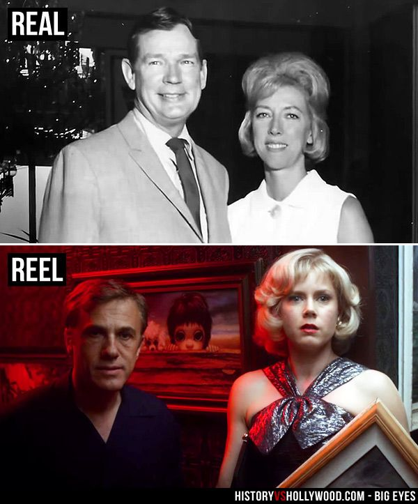Walter Keane and Margaret Keane in real life (top) and Christoph Waltz and Amy Adams as the Keanes in Tim Burton's Big Eyes movie. See more pics: http://www.historyvshollywood.com/reelfaces/big-eyes/