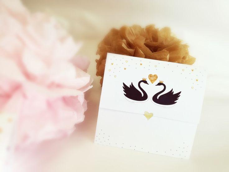 Silver Black Swan Invitation