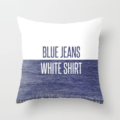 Blue Jeans White Shirt - Lana Del Rey Throw Pillow by HTD12 - $20.00