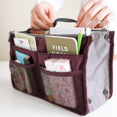 Doble bolsa en Bag-accesorio, la bolsa en bolsa, el acordeón doble, con cierre, organizar, contenedor