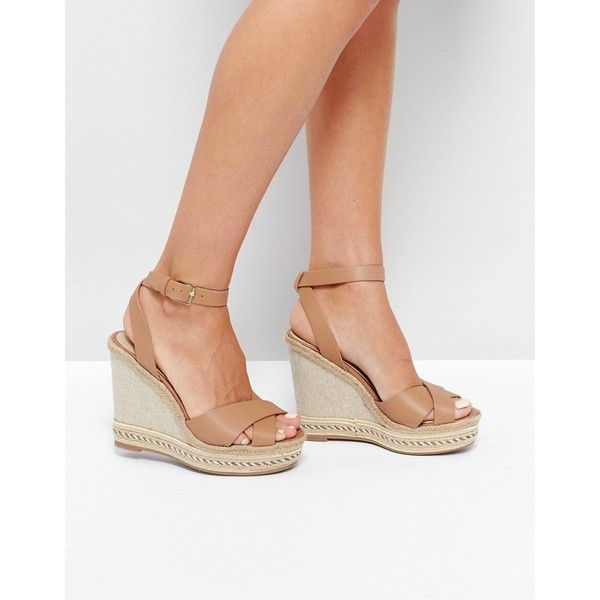 ALDO Clodia Tan Espadrille Wedge Sandals ($84) ❤ liked on Polyvore featuring shoes, sandals, tan, wedge sandals, woven wedge sandals, leather sandals, espadrille wedge sandals and espadrille sandals