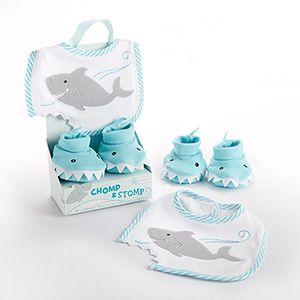 """Chomp & Stomp"" Shark Bib and Booties Gift Set..cornerstorkbabygifts.com"