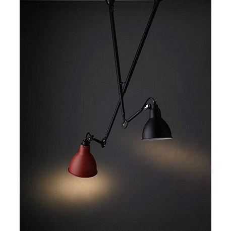 Verkeerde lichtpunt lamp, aanpasbaar! Plafondlamp La Lampe Gras matzwart en matzwart met een rode kap