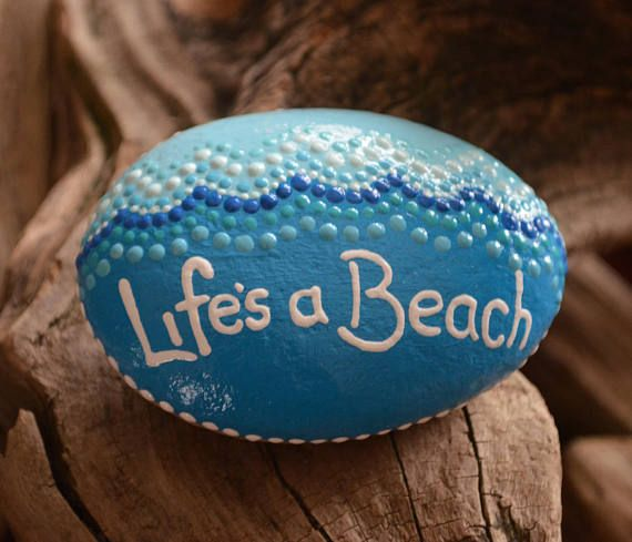 Life's a Beach beach art beach decor painted rock