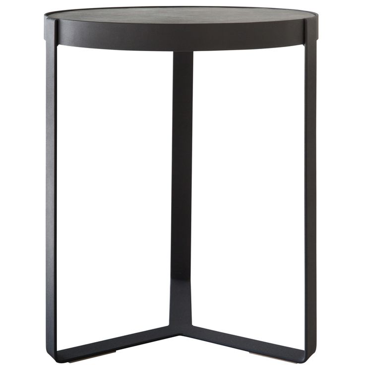 This side table is made of steel and leather.