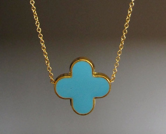 turquoise and gold necklace by Verse, $28