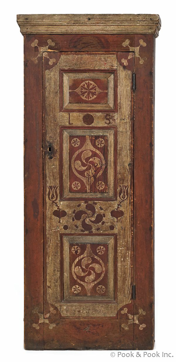 Southern painted hard pine hanging corner cupboard, ca. 1800, the decoration possibly by Johannes Spitler, Shenandoah (New Page) County, Vir...