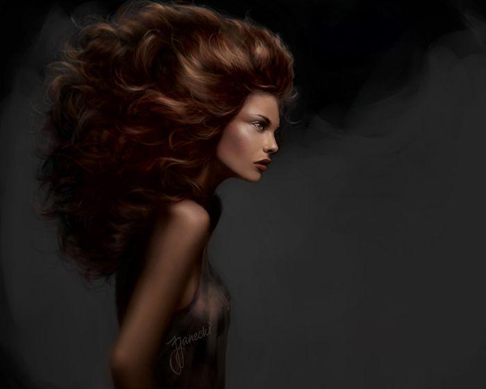 Femme I. Digital painting 2010 #realism #painting #red #hair #grey #female #art #portrait