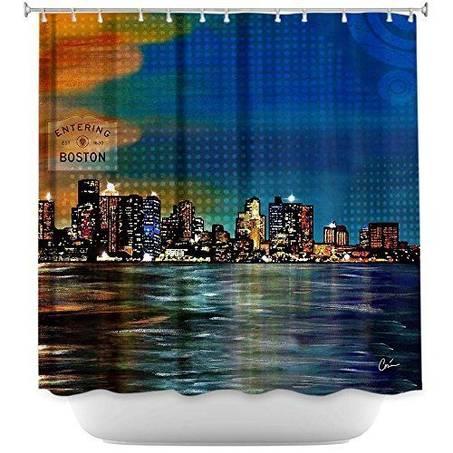 Tea Nest Designs Mildew and Wrinkle Resistant Shower Curtains Bathroom by Corina Bakke - Boston Skyline 66X72