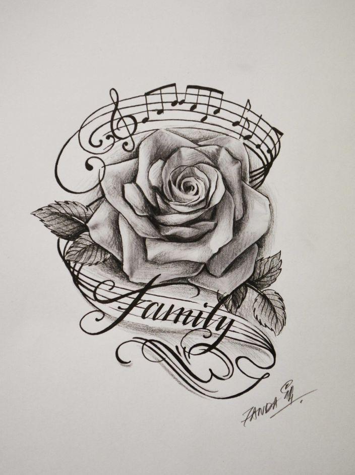 Bild Ergebnis für Rose und Musik Tattoo Tattoos Pinterest Trees, A Tree und Wo … #tattoos