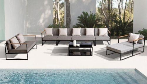 Sofa Moderno De Aluminio Color Antracita Y Cojines Gris Para Exterior Muebles De Exterior Muebles Para Tienda Tendencias En Decoracion