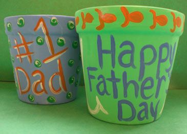 Easy Father's Day craft / gift: Fill a kid-painted pot with a cactus or plant for Dad or Grampa!