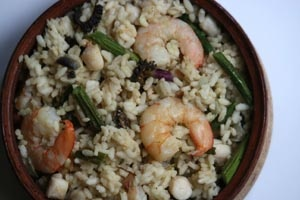 Risotto With Shrimp, Bay Scallops, Morels and Asparagus