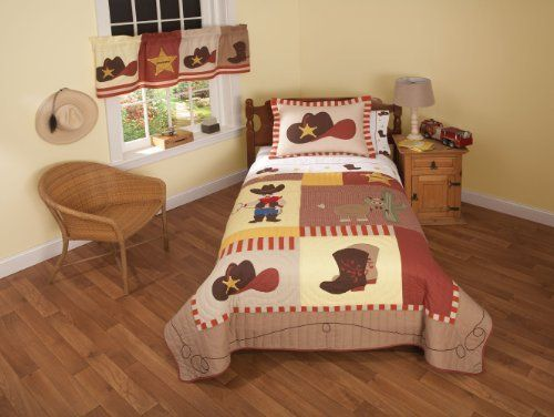 Cowboy Full Queen Quilt with 2 Shams by Pem America. $149.00. Machine Washable. Prewashed for out of the bag comfort. Imported. Face cloth and fill are 100% natural cotton. Hand crafted set includes 1 full/queen quilt (86x86 inches) and 2 standard shams (20x26 inches). Cowboys features classic images of the Wild West with boots, a ten gallon hat, and the Sheriff star. Quilts are all cotton and the pattern is fully accessorized. The quilt pattern is a mixture of earth t...
