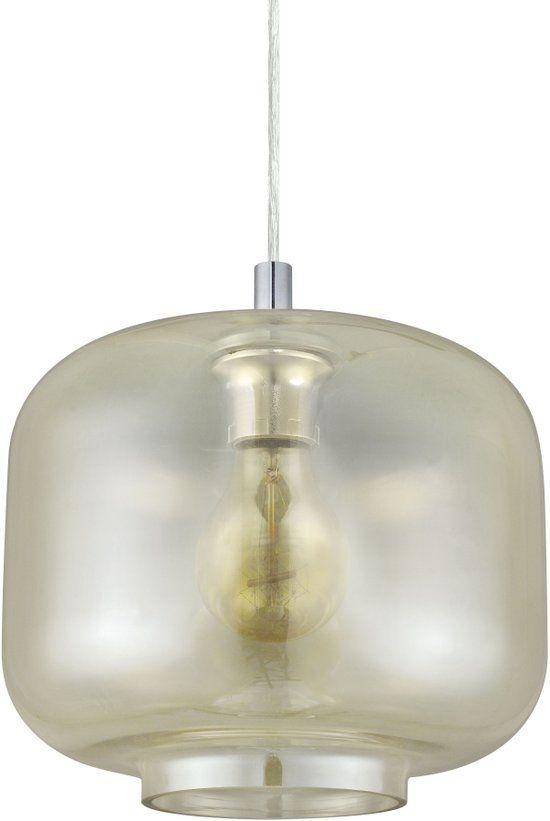 bol.com EGLO Vintage - Hanglamp - 1 Lichts - Chroom - Aluminium, Amberkleurig Glas