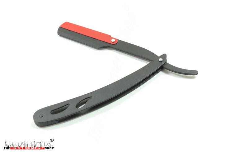 Straight Barber Shaving Razor Black Red Shaving Razors + 10 blades With Pouch