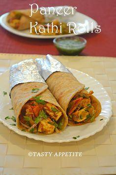 Tasty Appetite: PANEER KATHI ROLLS / EASY PANEER RECIPES / STEP BY STEP