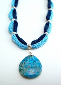 Double cord French Knitter Necklace with pendant