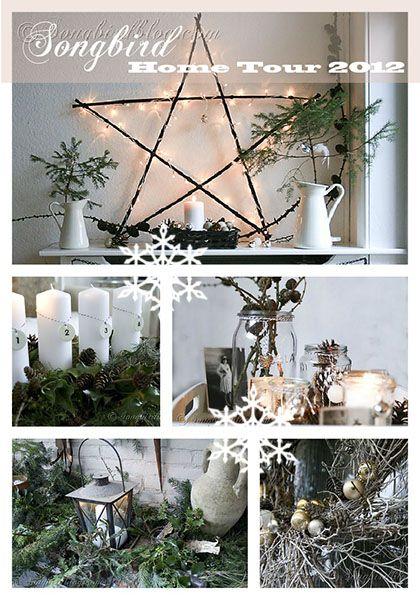 Natural and homemade Christmas decor with a Scandinavian twist. Full home tour of all Xmas decorations. http:// www.songbirdblog.com